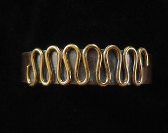Copper Cuff Bracelet Brass Wire Detail