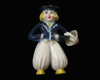 1930's Vintage Celluloid Dutch Boy Pin, Complete with Basket