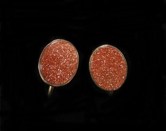 Gold Filled Goldstone Earrings, Curtis Creations by Curtman for Uncas