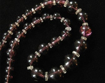 1930's Purple Glass Beaded Necklace, Hand Blown Beads