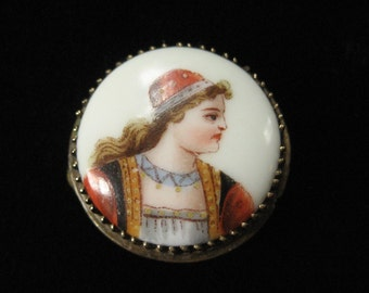 Victorian Hand Painted Portrait Pin on Porcelain