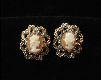 Genuine Shell Cameo Gold Filled Earrings Post Back