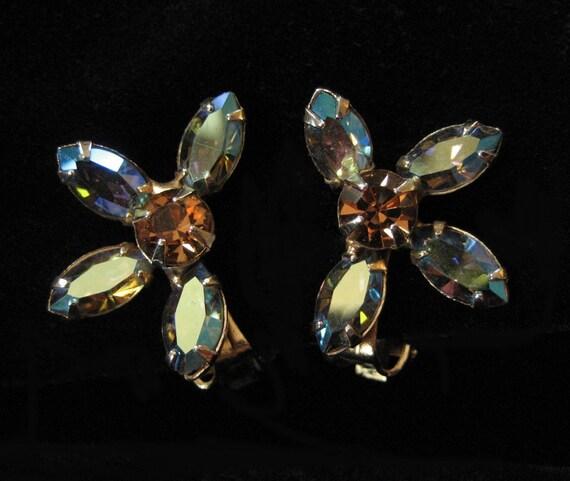 Blue AB and Topaz Rhinestone Earrings