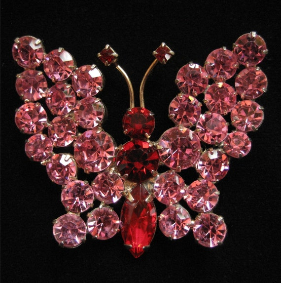Pink and Red Rhinestone Butterfly Brooch