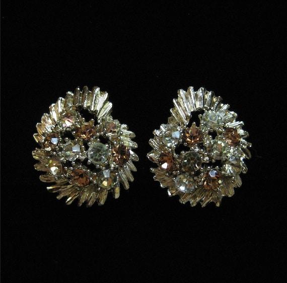 BSK Vintage Clip On Earrings, Vitrial Medium Rhinestones