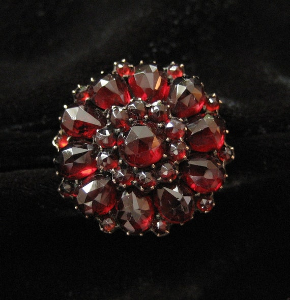 Bohemian Garnet Rose Cut Cluster Ring, 1900's, 10K Band
