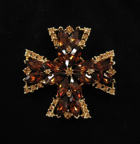 Maltese Cross Pendant Brooch, Brown and Topaz