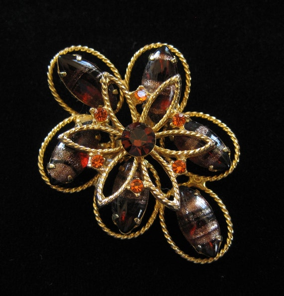 Copper Foil Brown Rhinestone Brooch