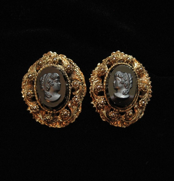 Black Glass Cameo Earrings, Victorian Revival