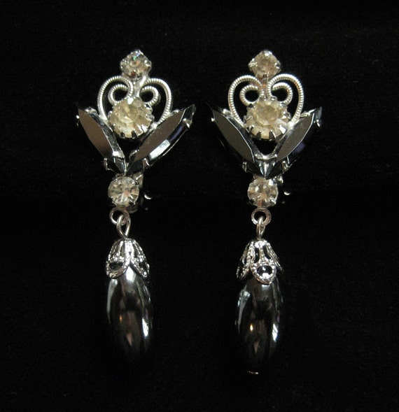 Vintage Rhinestone Earrings, Scroll Filigree, Dangling Hematite, Possible DE