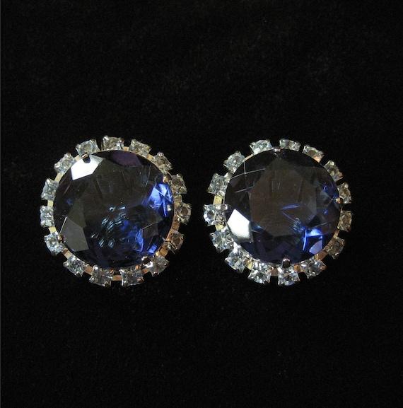 Blue Rhinestone Button Earrings, 1950's