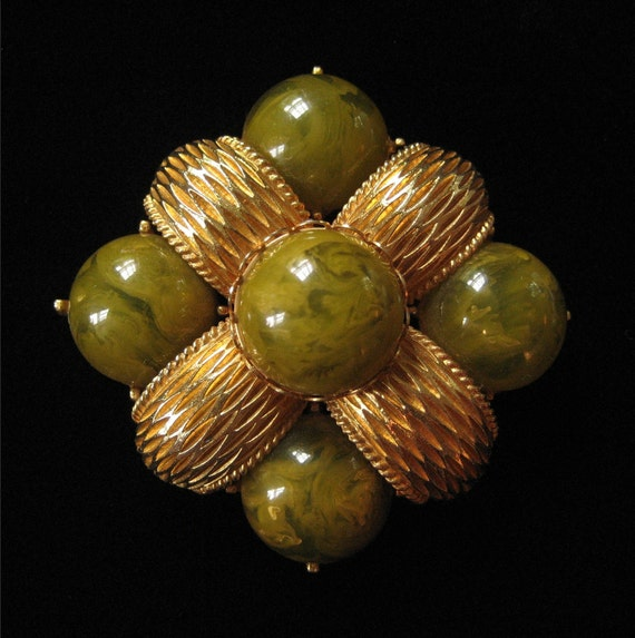 1960's Cadoro Signed Brooch with Bakelite Cabochons