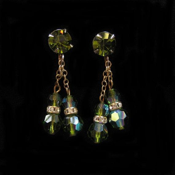 Green Crystal Earrings,  Dangling Vintage Earrings