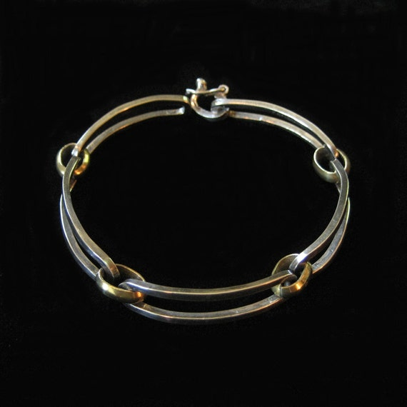 Taxco Sterling Silver Bracelet with Brass, Modern Mexico Design