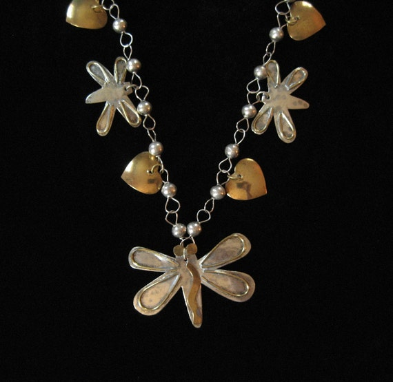 Mexican Butterfly Necklace, Brass and Silver