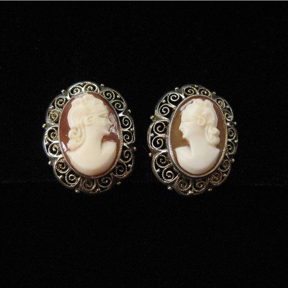 Cameo Earrings, 835 Silver Filigree, Genuine Shell