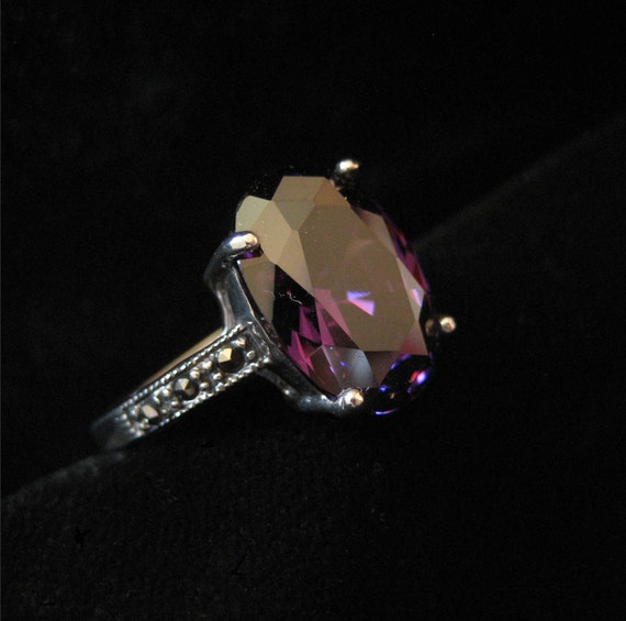 Sterling Purple Stone Marcasite Ring, Size 7