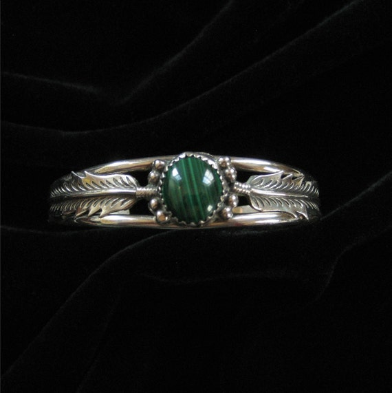 "Navajo Sterling Feather Cuff, Malachite Stone, Signed ""B"""