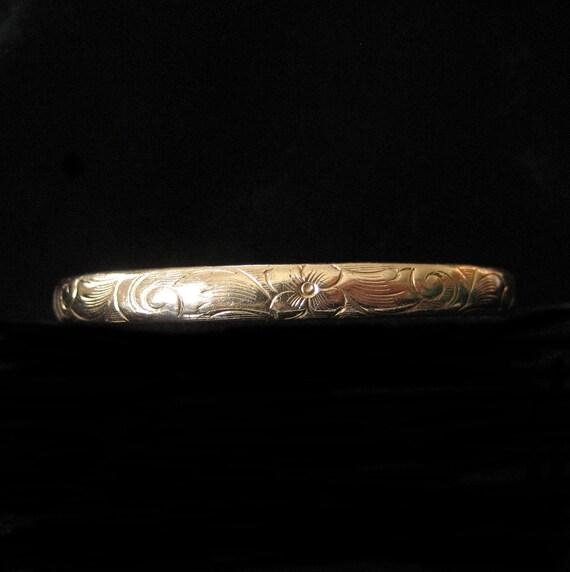 Antique Gold Filled Child's Bracelet, Etched Hinged Bangle