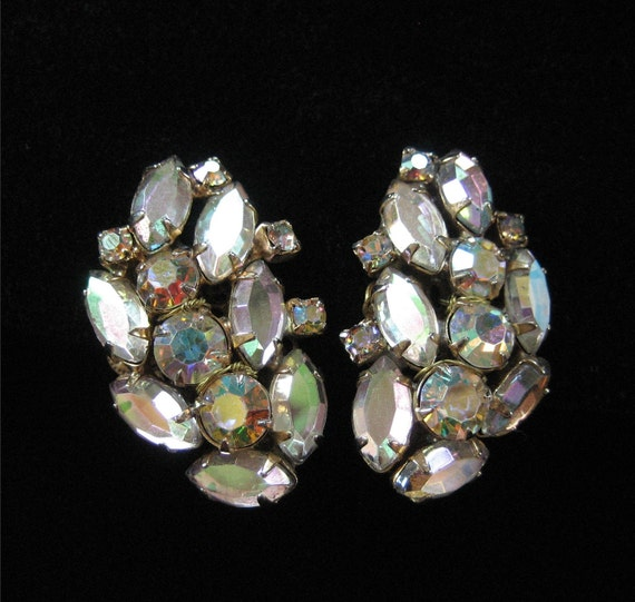 AB Rhinestone Earrings, Signed Alice Caviness