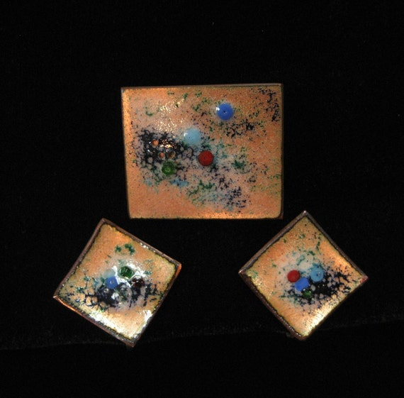 Mid Century Modern Enamel on Copper Set