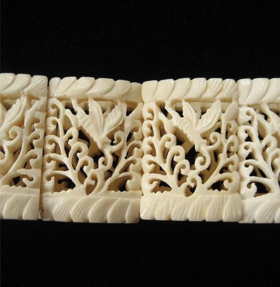 Delicate Carved Bone Bracelet Open Work Moth Pattern