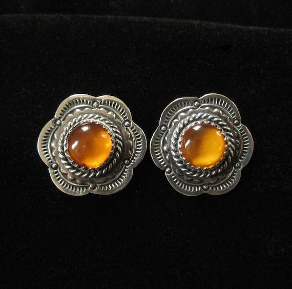 Sterling Silver Amber Earrings, Post Backs