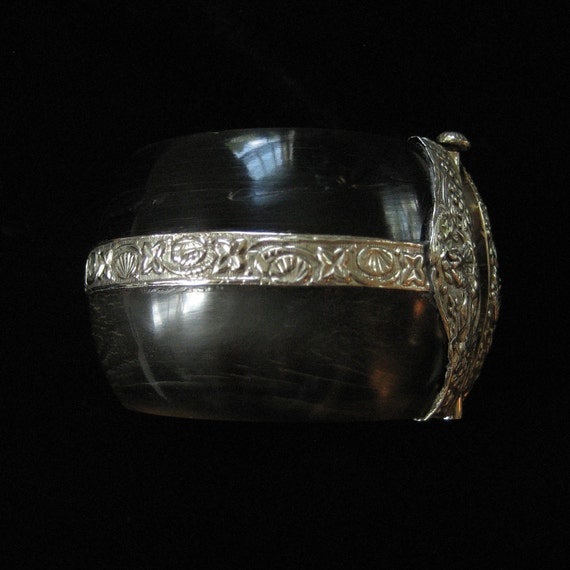 1970's Horn Bracelet with Repousse Metal Work, India