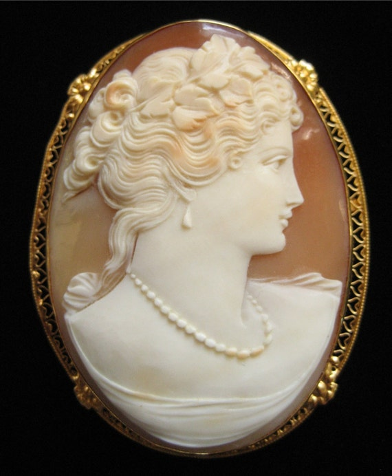 Custom Cameo Resin Pins Diy: Victorian Hand Carved Shell Cameo 14K Gold Pin/Pendant 2