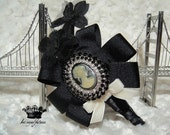 Couture Black Boutique Bow and Millinery Hydrangea with Huge Vintage Rhinestone Cameo on a Black Satin ribbon wrapped headband-Perfect for toddlers through Adults
