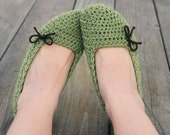 Coffee and Sage Crochet Slippers