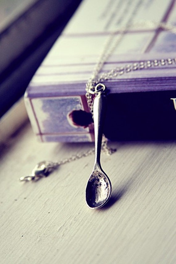 SALE - Silver Spoon Necklace - Silver Plated Charm and Sterling Silver Chain
