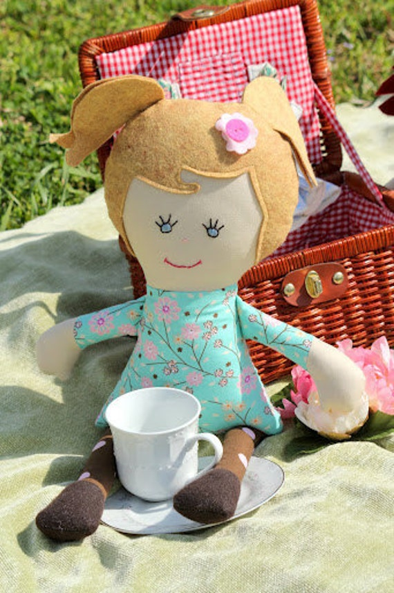 Miss Madi Doll - Handmade doll in turqoise and pink