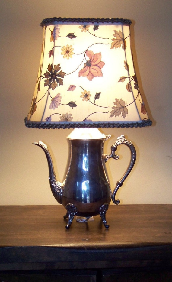 Silver Teapot Lamp W Custom Shade By Valslamps On Etsy