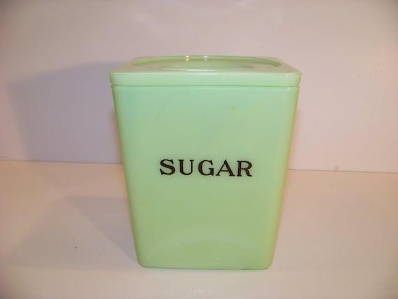 Green  depression glass Jeannette Jadite Sugar Canister