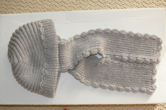Free Knitting Pattern Scarf Hat Attached : Gray knit hat with scarf attached