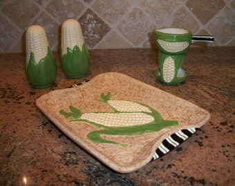Ceramic Corn Plate Butter Warmer and Salt and Pepper Shakers Set