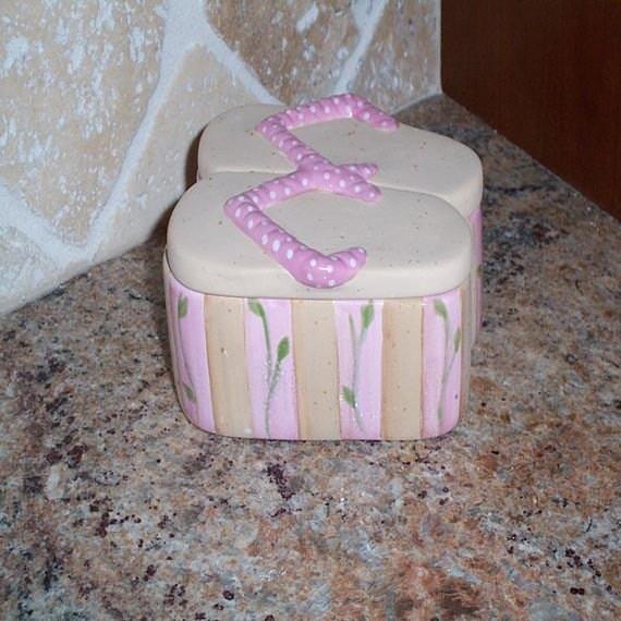 Pink Polkadot Ceramic Clay Flipflop Box