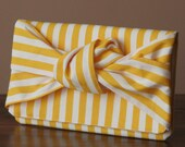 Square Knot Clutch or Kindle Case - Yellow Stripe