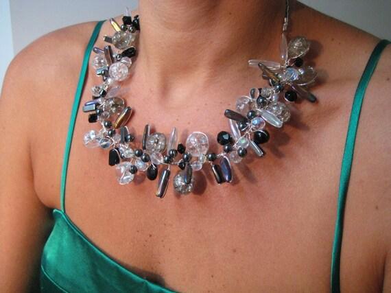 Statement Necklace, Black and White, Bib, Collar, Modern, Unique