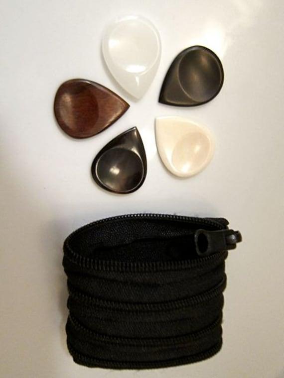 Set of 5, Exotic guitar picks in zipper constructed pouch, Genuine Dark Horn, Bone, Jade, Rosewood and Ebony