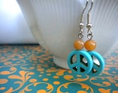 Peace Out Turquoise and Peach Aventurine Earrings