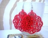 Devya Pierced Red Wooden Charm Earrings
