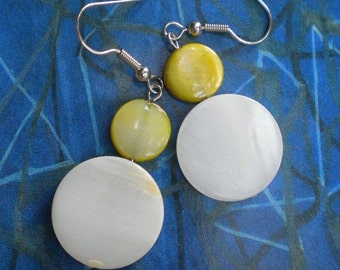 Shell and Chartreuse Fiona Earrings