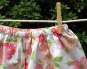 Toddler Pillowcase Skirt size 3T Peach and Pink Linen Flowers