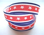 Stars and Stripes in Red, White and Blue Ribbon - 1 Yard of 5/8 inch Ribbon - Patriotic, Great for July 4th Projects
