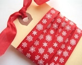 Cherry Red Snowflakes Ribbon - 1 Yard of 3/8 inch Ribbon