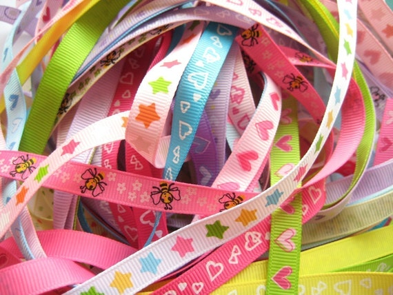Ribbon Mix Grab Bag Assortment - Buy in Bulk and Save a Lot - 20 Yards of 3/8 inch Ribbons