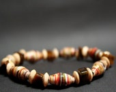 Pizza Menu Recycled Paper Beads with tiger eye and wood