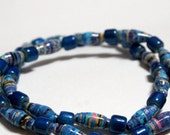 Peacock Blue Recycled Paper Bead Bracelet